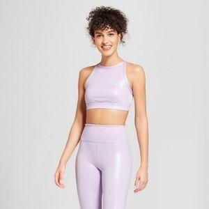 JOYLAB High Neck Shine Lavender Metallic Sport Bra